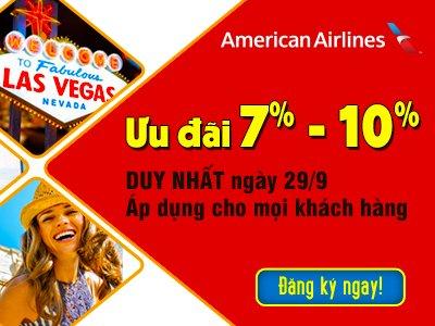 ONLINE FRIDAY – Giảm giá shock 1 ngày DUY NHẤT 29/09/2017 khi mua vé máy bay American Airlines